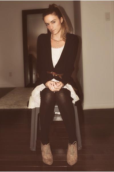 beige Forever 21 shoes - white lace Ebay dress - brown skinny Aldo belt