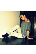 gray American Apparel top - white H&M top - blue urban behavior jeans - black Eb