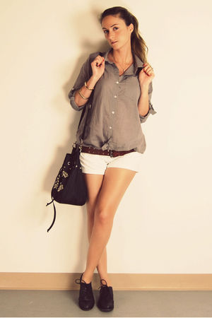 brown Ebay shirt - white H&M shorts - brown vintage belt - black Hudson shoes -