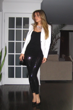 white Zara blazer - black Costa Blanca top - black Zara leggings - black Aldo sh