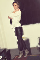 white Target shirt - black Forever 21 skirt - gray Sirens boots - black Ardene p