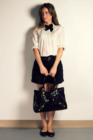 white H&M blouse - black H&M shorts - black Ardene shoes - black Ardene tie - bl