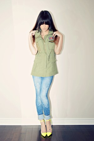 olive green army Sheinside vest