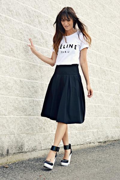black full midi Club Monaco skirt - black ankle strap Aldo wedges