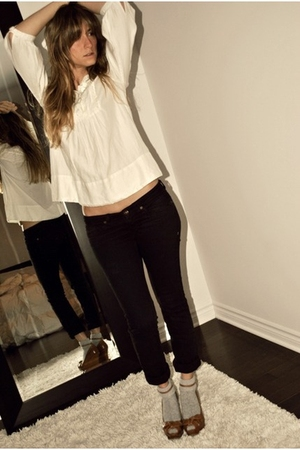 white H&M blouse - black Ardene jeans - gray Ardene socks - brown Aldo shoes