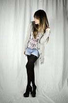 black suede sandals GoJane heels - heather gray banana republic cardigan