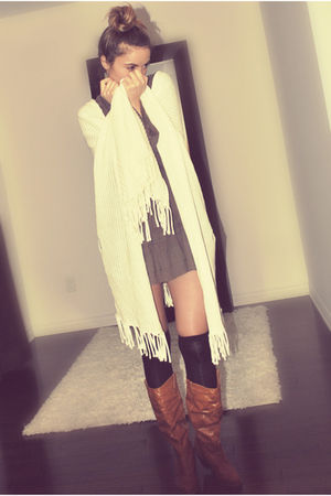 white Forever 21 - brown Zara dress - black Ardene socks - brown csn stores boot