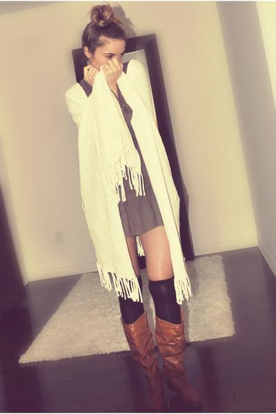white Forever 21 - brown Zara dress - black Ardene socks - brown csn stores boot