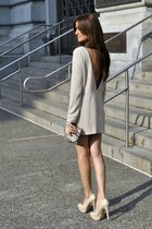 beige patent Aldo heels - beige my own design dress - charcoal gray Ardene bag
