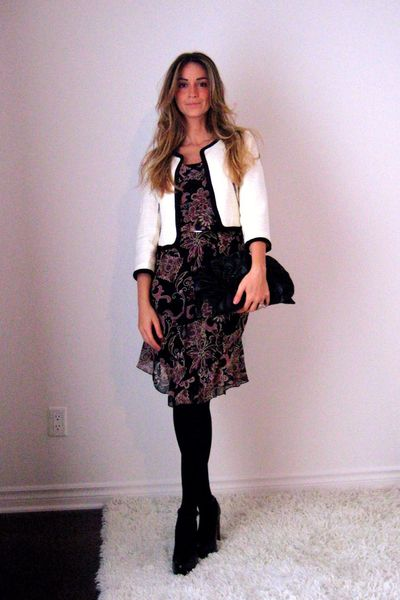 H&M blazer - Forever 21 dress - Ardene stockings - Aldo shoes - gift -  belt