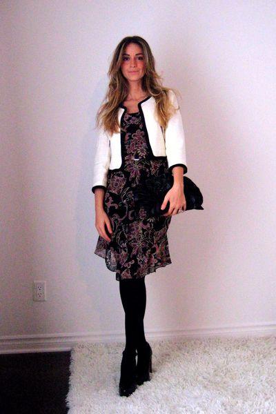 H&M blazer - Forever 21 dress - Ardene stockings - Aldo shoes - gift -  belt