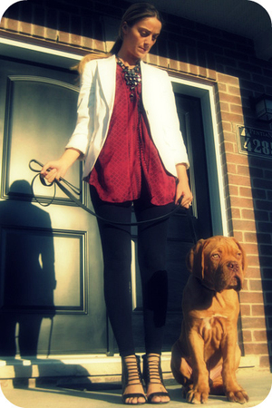 Zara blazer - Arden B blouse - H&M leggings - Aldo shoes - Ardene necklace