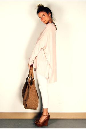 pink H&M top - brown wedges Aldo shoes - white Ardene leggings