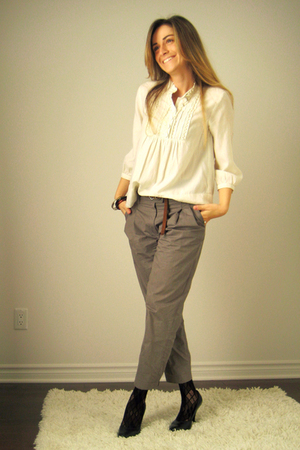 H&M blouse - H&M pants - Aldo belt - Ardene stockings - Aldo shoes - AldoArdene