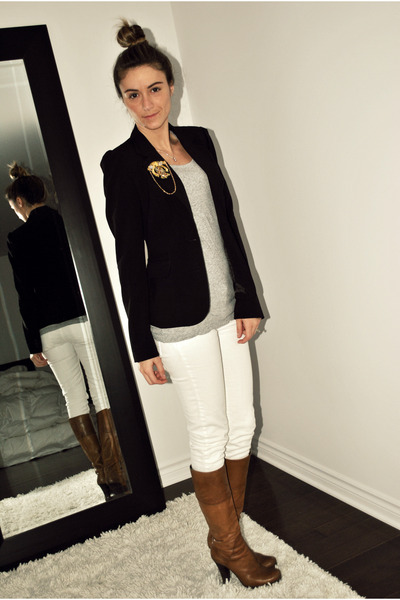 black basic Sirens blazer - brown Aldo boots - white Costa Blanca jeans
