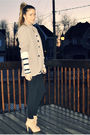 Gray-zara-mens-blazer-white-abercrombie-and-fitch-top-black-american-apparel