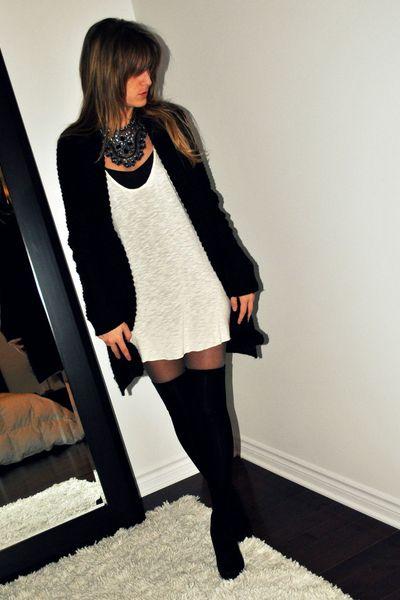 black Urban Behaviour cardigan - white Ardene top - black Ardene socks - gray vi