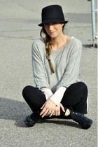 black Ardene hat - heather gray H&M sweater - light pink H&M top - black H&M leg