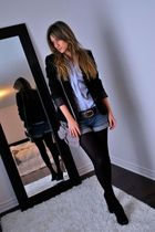 blue denim cut offs garage shorts - black Aldo shoes - black Sirens blazer