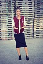 crimson varsity Ardene jacket - black suede zipper Aldo boots
