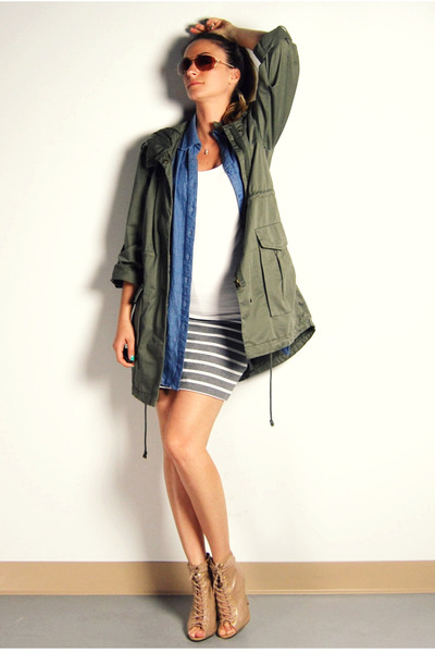 green H&M jacket - blue Forever 21 shirt - white Ardene top - gray Forever 21 sk