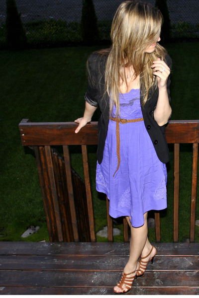 purple lace embroidery urban behavior dress - brown strappy Aldo shoes