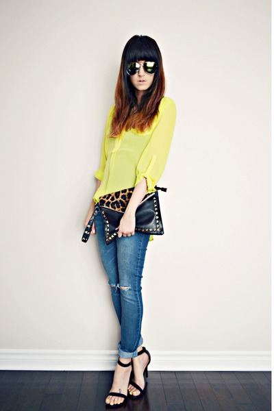 yellow sheer neon necessary clothing blouse - black Ardene bag