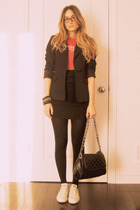 Zara blazer - Urban Outfitters t-shirt - Costa Blanca - H&M tights - foot locker