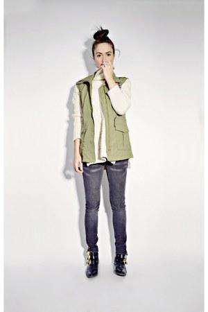 olive green army Sheinsidecom vest