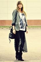 gray Zara blazer - white Zara t-shirt - black thrifted vintage intimate - black