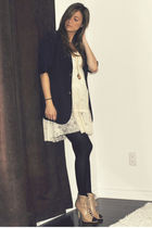 blue Forever 21 blazer - white Ebay dress - black H&M stockings - beige Aldo boo