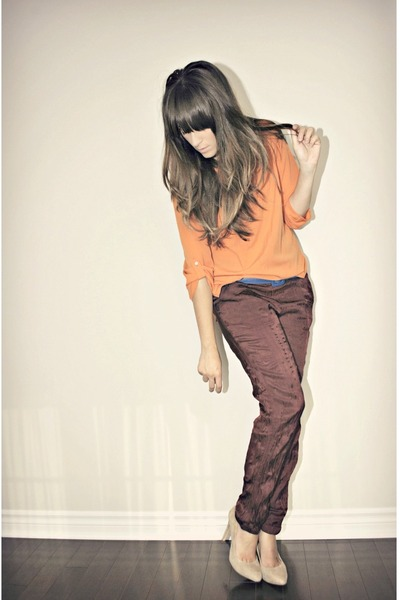 crimson Joe Fresh pants - orange Zara blouse