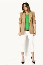 white crop H&M jeans - camel thrifted blazer - green H&M t-shirt - black ioffer