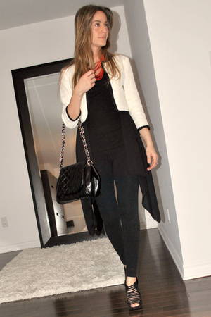 white H&M blazer - black H&M top - black American Apparel leggings - black Aldo