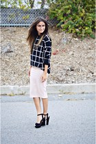 black grid print Missguided sweater - light pink pencil Missguided skirt