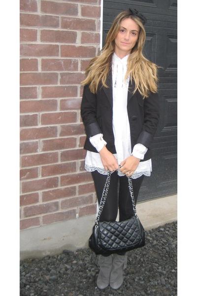 Zara blazer - Ebay blouse - Zara leggings - Aldo boots - Ardene - Ardene