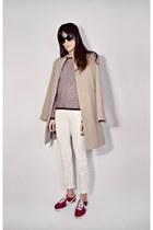 ivory skinny Smart Set jeans - maroon knit Smart Set sweater