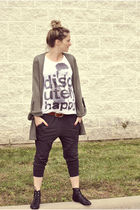 green Topshop cardigan - white Zara t-shirt - gray EXR loves Pucca pants - black