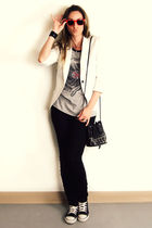 white Zara blazer - gray Forever 21 top - black H&M pants - black Converse shoes