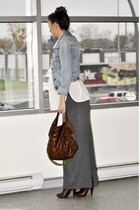 blue abercrombie and fitch jacket - white Costa Blanca shirt - gray H&M skirt -