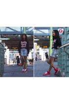 PetalsPeacocks hoodie - hi-tops creative recreation sneakers - skirt H&M skirt