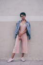 Sky-blue-denim-brandy-melville-jacket-light-pink-boohoo-jumper