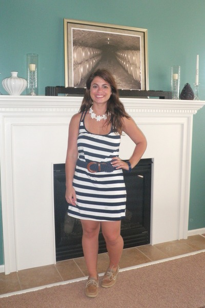 da61cdf54b7 blue TJ Maxx dress - brown Sperrys shoes - blue Lands End belt - white  Souvenir