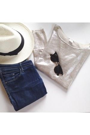 silver Club Monaco top - fedora Hat Attack hat - sunglasses Ray Ban sunglasses