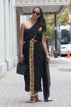 gold metallic romwe sandals - black sari sheer gold vintage dress