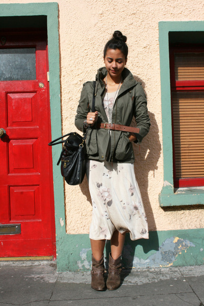 Bakers boots - vintage dress - Zara jacket - Style & Co bag