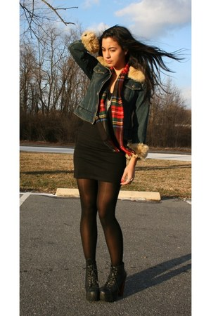thrifted jacket - thrifted scarf - Rave dress - Jeffrey Campbell boots