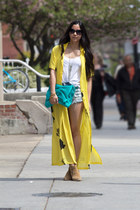 yellow vintage dress - camel asos boots - turquoise blue Violet Boutique bag