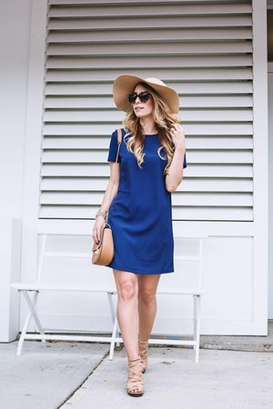 navy shift Forever 21 dress - camel felt American Apparel hat