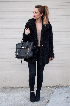 black ankle boots Target boots - black shearling Topshop coat